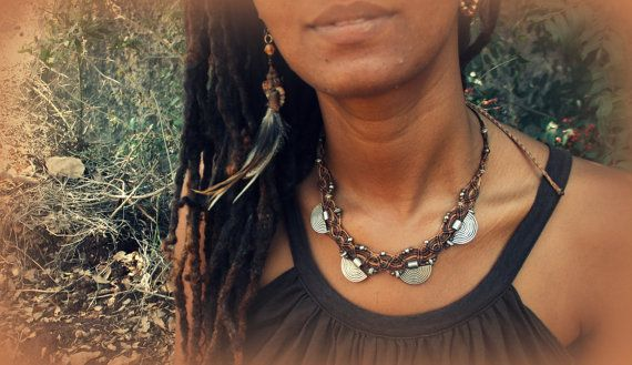 TriBal Macrame necklace with gipsy metal beads in earth color via Etsy