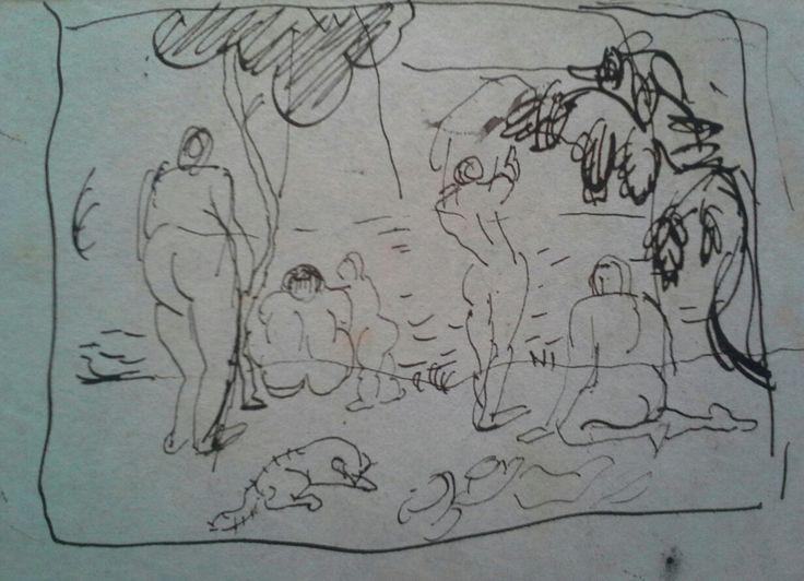 """Mikola András (1884 - 1970) Kompozíciós jelenet aktokkal.A """"Nyolcakhoz"""" kapcsolódó eddig ismeretlen kompozíciós vázlat-1905-1906- Tus - vázlatfüzet karton borító. Mikola András párizsi vázlatfüzete.-Mihály Gyűjtemény"""