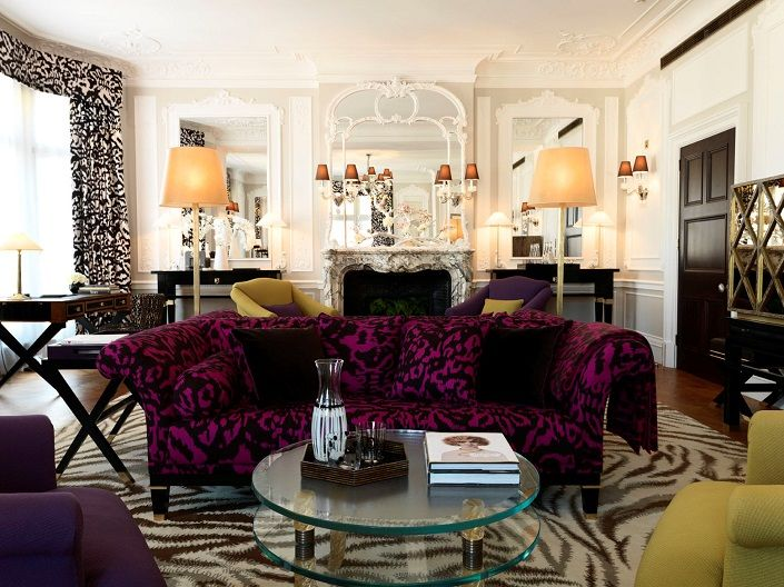 Interior Design Living Room With Classic Purple Loveseat And Glass Coffe Table Storage Also