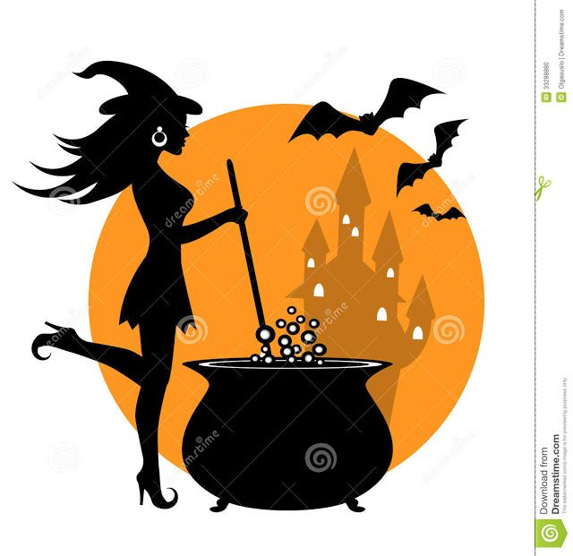Happy Halloween Witch and cauldron pumpkin carving stencils free
