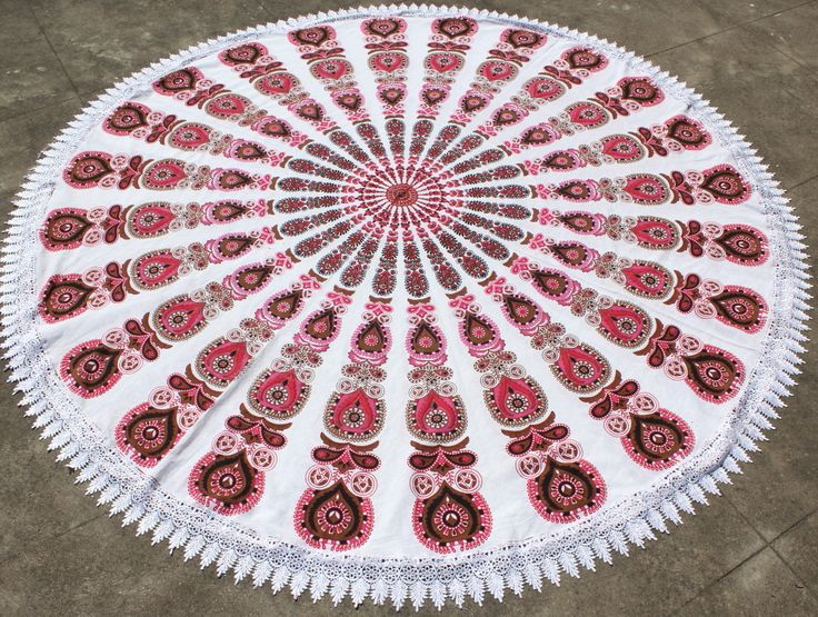 $36USD - Peach Orange Shaded Peacock Feather With White Crochet  Beach Sheet, Beach Throw, Picnic Throw, Table Cloth, Wall hanging, Tapestry, Round beach throw, mandala Table cover, mandala yoga mat, round beach towel, hippie