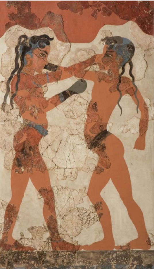 «Τοιχογραφία των πυγμάχων». Ακρωτήρι Θήρας, υστεροκυκλαδική περίοδος, περίπου 1600 π.Χ. Εθνικό Αρχαιολογικό Μουσείο, Αθήνα.