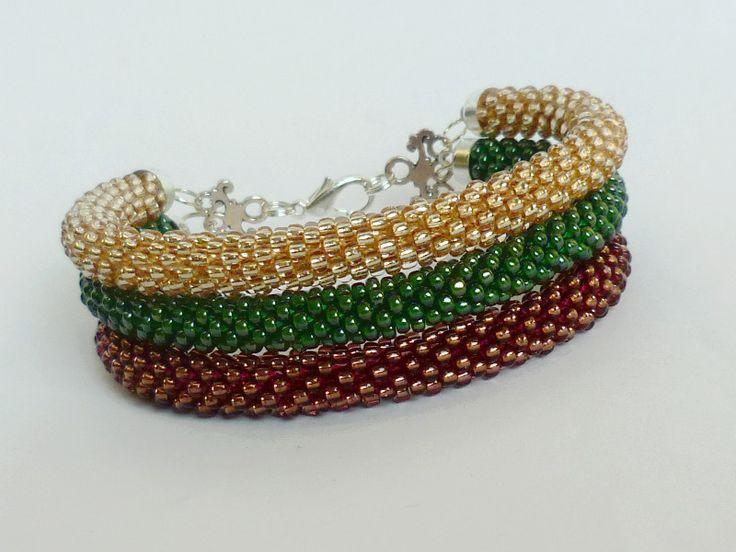Bransoleta potrójna Tricolore Fiesta #beadcrochet #triple #bracelet