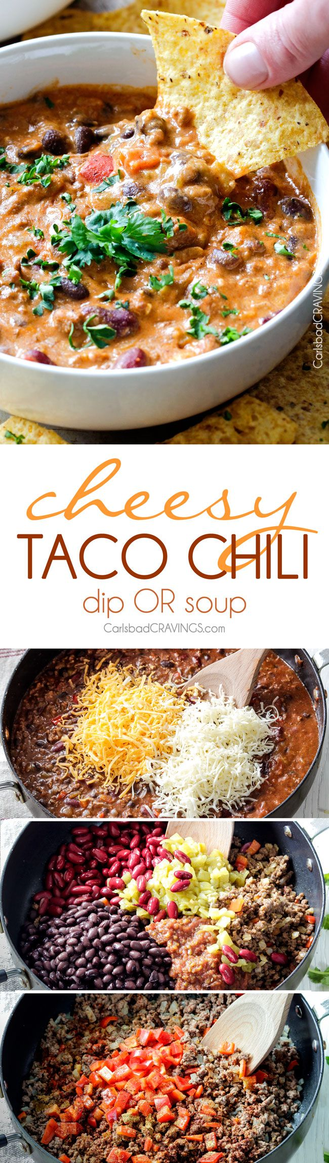 Homemade Cheesy Chili Dip or Soup LOADED with your favorite chili ingredients, spices and SO irresistibly cheesy with NO processed cheese! Serve as a crowd pleasing appetizer or simply thin for THE most addicting soup! my favorite dip ever! #gameday