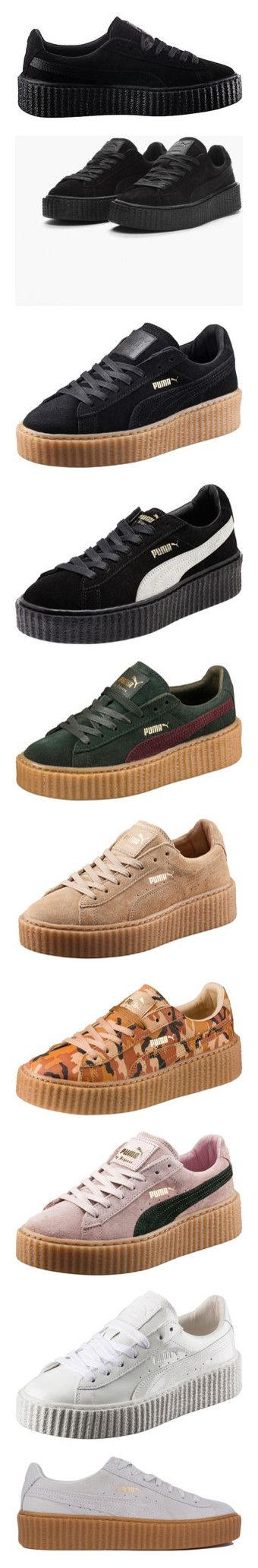 """""""rihanna puma"""" by sabaaaa ❤ liked on Polyvore featuring men's fashion, men's shoes, men's sneakers, shoes, sneakers, puma, tenis, mens shoes, mens platform sneakers and mens creeper shoes"""