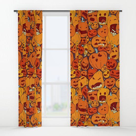 Halloween pumpkin pattern Window Curtains    art by strijkdesign