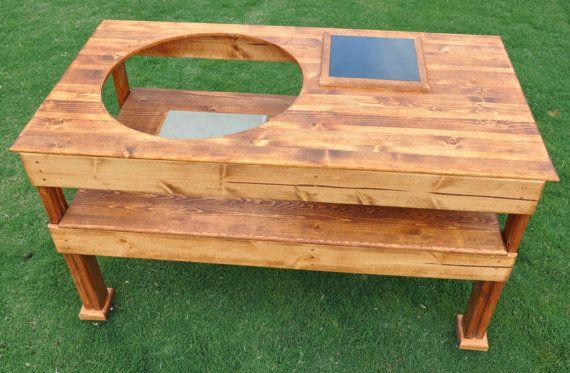 diy custom big green egg ceramic grill table diy bbq. Black Bedroom Furniture Sets. Home Design Ideas