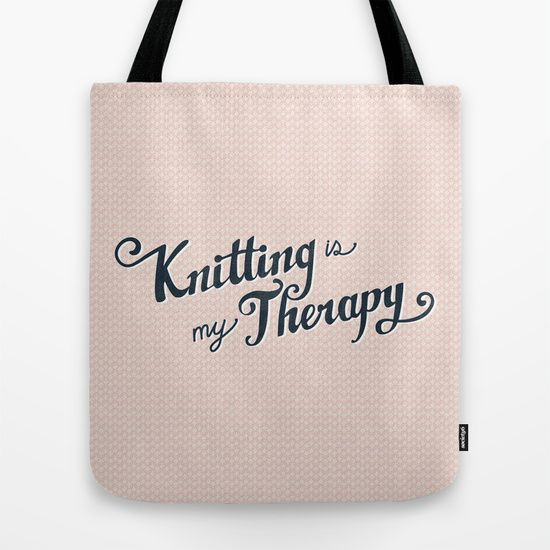 KNITTING IS MY THERAPY Tote Bag