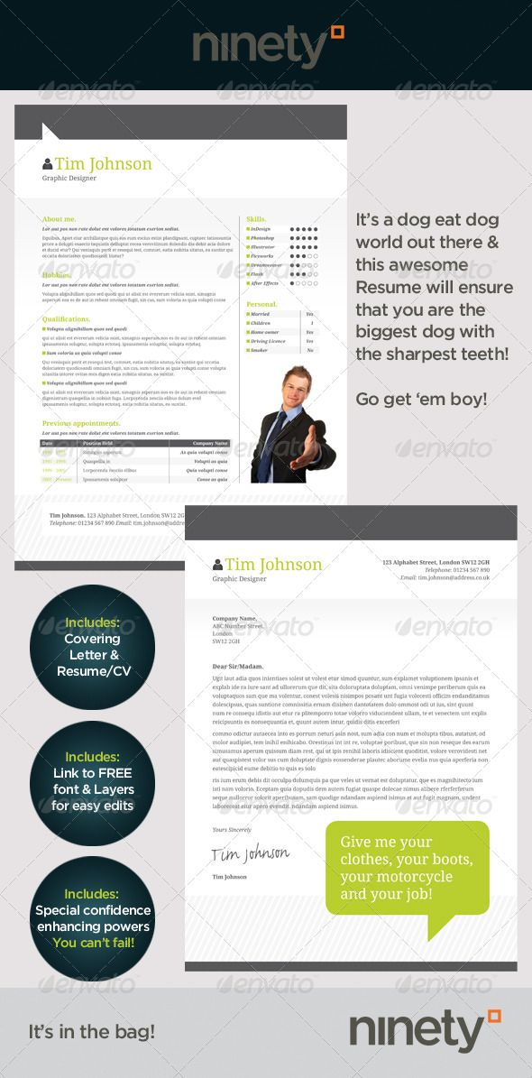 Clean Resume/CV This resume is clean and fresh. It comes in A4 and US Letter sized CS4 .indd's with .inx files for CS3 users. We have a covering letter and resume documents with a link to the FREE font. It contains Style sheets to quickly and easily update with all your info and your new boss drooling!