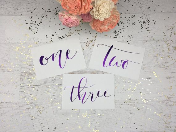 Purple Table Numbers  Table Markers  Wedding by GildedPaperCo