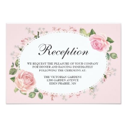 Elegant Floral Lace Pale Pink Wedding Reception Card - spring wedding diy marriage customize personalize couple idea individuel