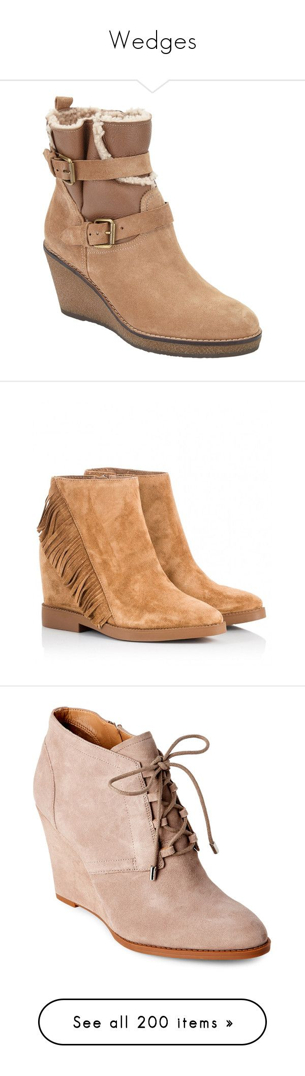 """Wedges"" by kingdomofmercia ❤ liked on Polyvore featuring shoes, boots, ankle booties, leather ankle boots, flat ankle boots, ankle boots, wedge ankle boots, wedge ankle booties, camel and suede ankle boots"