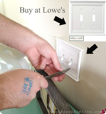 New, classy light switch covers from Lowe's make all the difference :) - thehouseofsmiths.com #entrywaymakeover #lightswitchcovers
