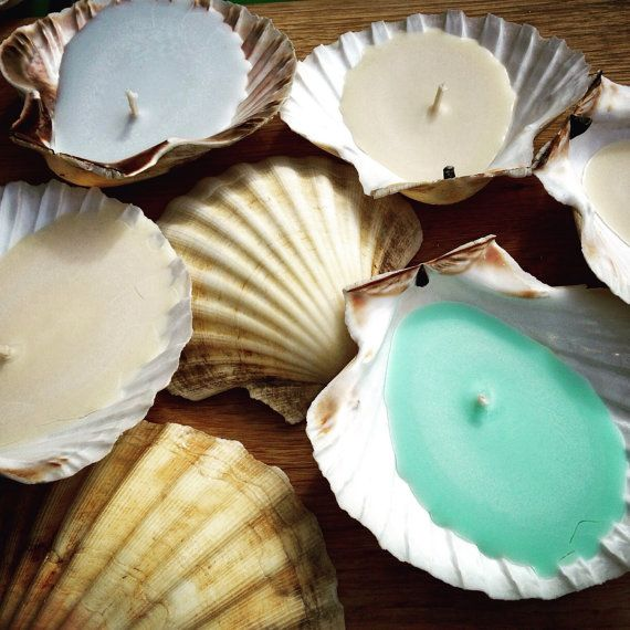 Trio of Cornish Scallop Shell Candles by WoodpeckerandWeasel