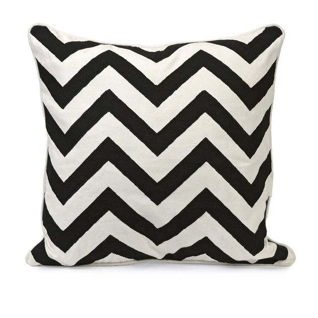 Chevron Black and White Embroidered Pillow: Instill a vibrant energy with  this bold, graphic