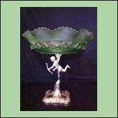 Beautiful Art Deco Glass Comport with Cherub base