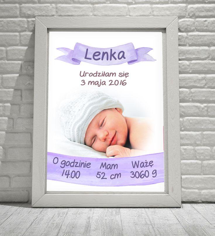 Metryczka ze zdjęciem dziecka fioletowa – Sklep Neinka
