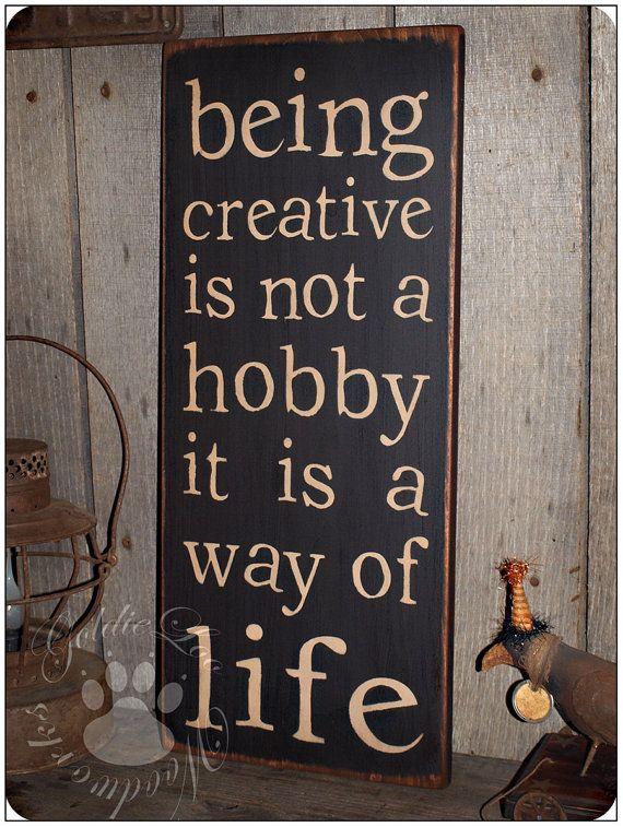Being Creative Primitve Folk Art Word Art by GoldieLooWoodworks, $18.00