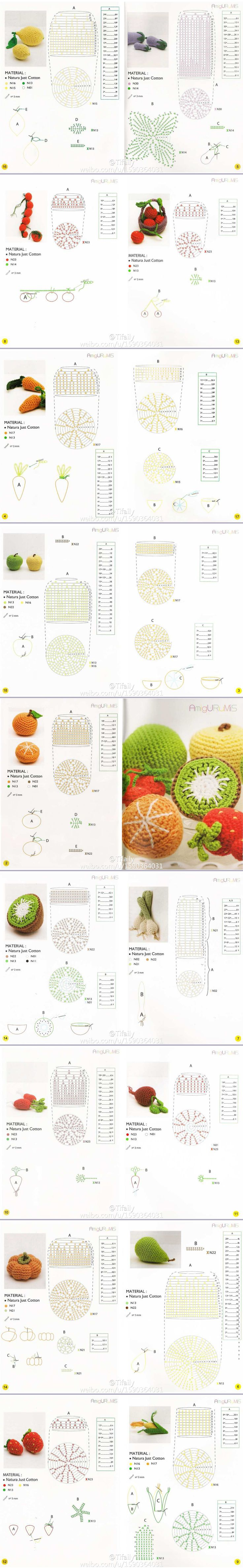 Amigurumi Fruits & Vegetables - Chart ❥ 4U hilariafina…