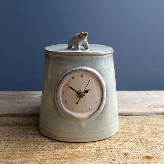 Large Polar Bear Blue Mantel Clock by JuliaSmithCeramics on Etsy - Scottish artist
