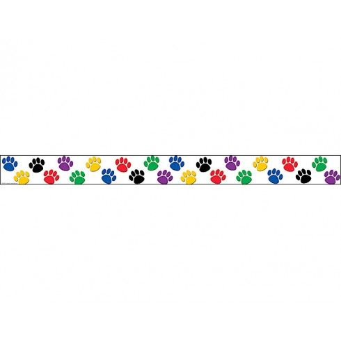 Colorful Paw Prints Straight Border Trim