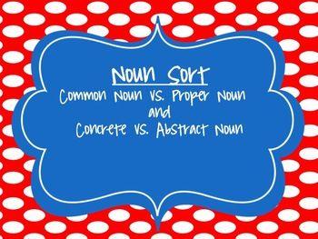 FREEBIE Noun Sort- Concrete, Abstract, Common and Proper