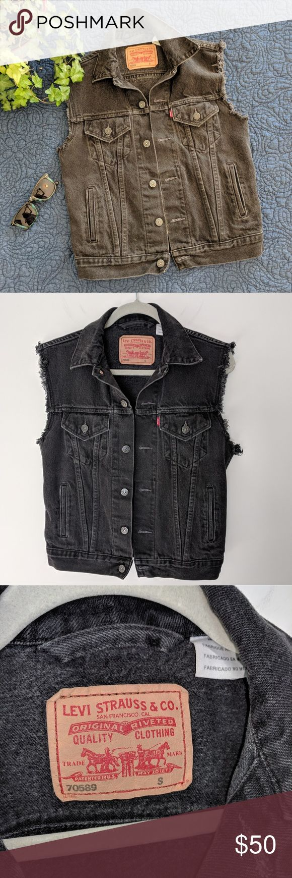 MEN'S Vintage Levi's Black Denim Vest EUC This classic vintage denim will give your outfit the edge! Hand-cut from a standard trucker jacket, perfectly worn-in and frayed. Ladies, consider this item for a trendy oversized look! Levi's Jackets & Coats Vests