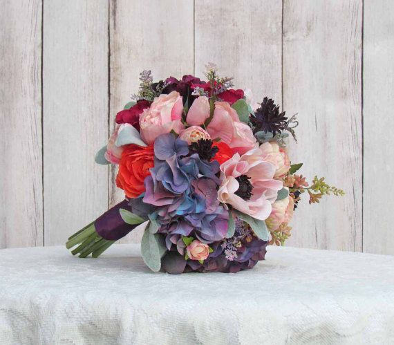 Light Pink Coral and Vintage Purple Wedding Bouquet by justanns