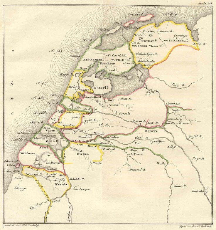 Bestuurlijke kaart van Nederland omstreeks het jaar 1000. W. Bilderdijk, 1832.