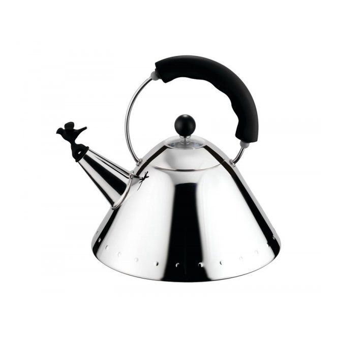 Alessi Whistling Bird Hob Kettle 9093 Black by Michael Graves