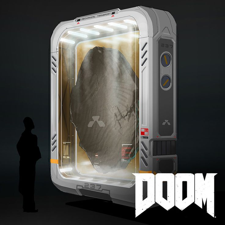 A couple ambient storage containers as well a variety of tablet designs used throughout the game.   http://doom.com/  © id Software, LLC, A Zenimax Media Company