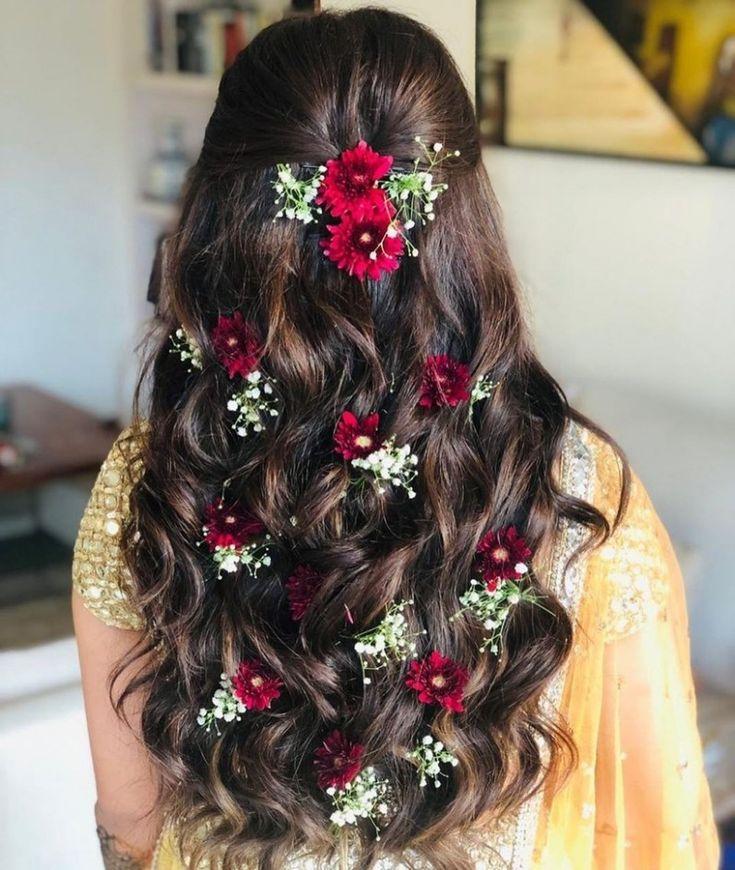 Girl Flower Hairstyle in 2020   Long hair styles, Wedding ...