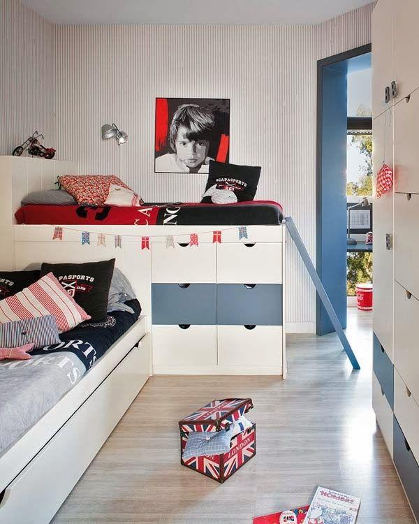 Jurnal de design interior - Amenajări interioare : Idee de amenajare a unei camere pentru 2 băieți