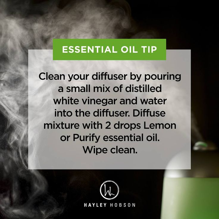 When you use your diffuser regularly like I do, as I'm sure most of you do as well, you know that eventually all those different potent oils leave behind fragrance and you need to clean your diffuser to keep the scent fresh and pure. To clean your diffuser, pour a small mix of distilled white vinegar and water into your diffuser. Run your diffuser with the mixture and 2 drops of Lemon or Purify essential oil. Once it's done, wipe clean. That's it! www.hayleyhobson.com