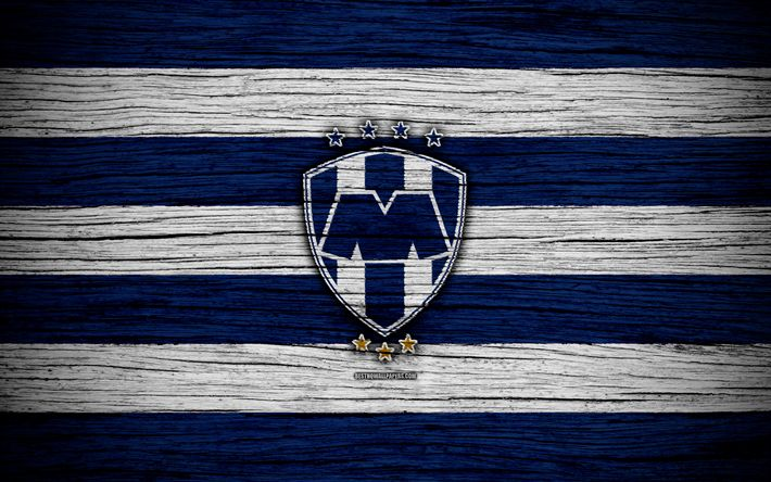 Download wallpapers Monterrey FC, 4k, Liga MX, football, Primera Division, soccer, Mexico, Monterrey, wooden texture, football club, FC Monterrey