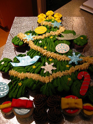 Christmas tree cupcake cake. This would be neat done with cookies and candies for the decorations