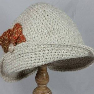 Crochet Pattern Womens Flapper Hat With Bow Trim Instant Download May Resell Finished – capelli lana