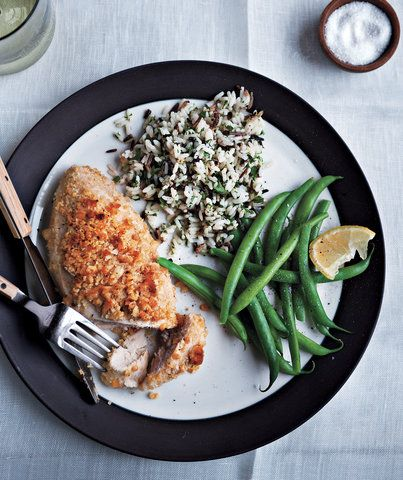 Family staple in our house! Make sure to pound the chicken to even thickness. Serve with Rice and Broccoli! My kids love it!