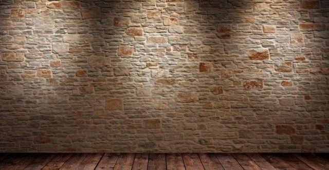 papier peint trompe l'oeil  en pierres un plancher sur le sol