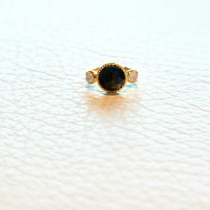 Sterling Silver - Gold Plated ring / Black Onyx with Rainbow Moonstone side stones / Handmade / Natural Semi-Precious Stones / sizes 6 & 7 / $60 / to purchase email lotusbyleslieann@gmail.com