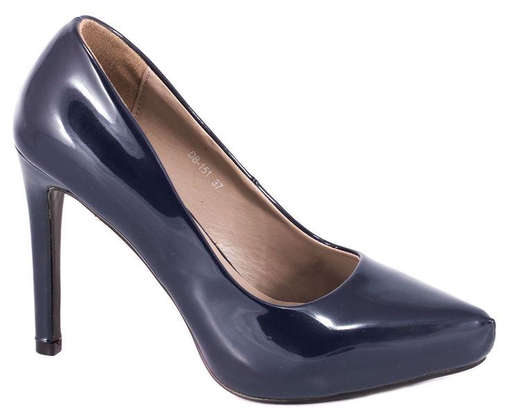 Pantofi cu platforma - Pantofi albastri cu platforma DB-151A - Zibra
