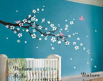 fleur de cerisier mur sticker oiseaux Stickers fleur vinyle