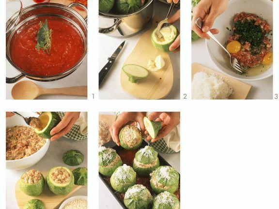 Gefüllte runde Zucchini auf korsische Art zubereiten ist ein Rezept mit frischen Zutaten aus der Kategorie Blütengemüse. Probieren Sie dieses und weitere Rezepte von EAT SMARTER!