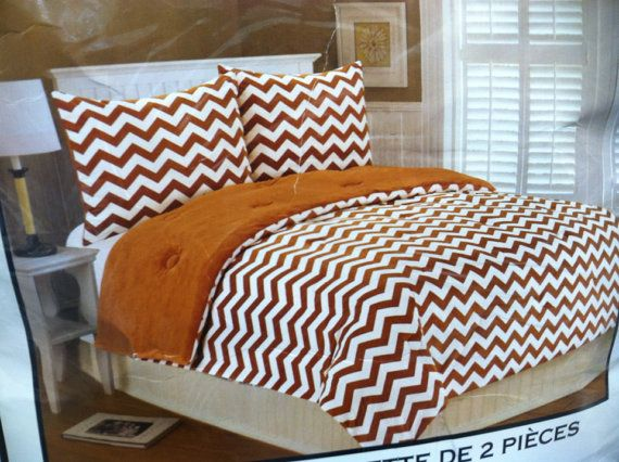 Orange  Chevron Comforter and Sham personalizedi on Etsy, $100.00