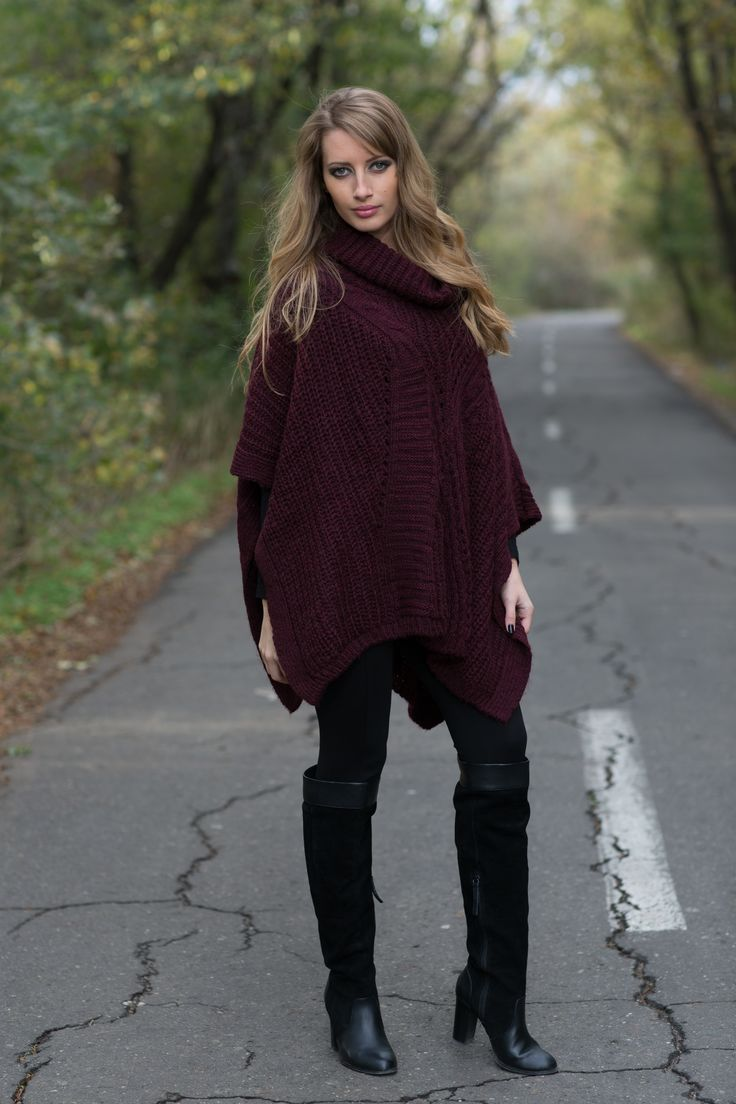 Burgundy knitted poncho - 119 RON http://www.raspberryfashion.ro/burgundy-poncho-knitted  Black Leggings With Zippers - 69 RON http://www.raspberryfashion.ro/black-leggings-with-zippers-1