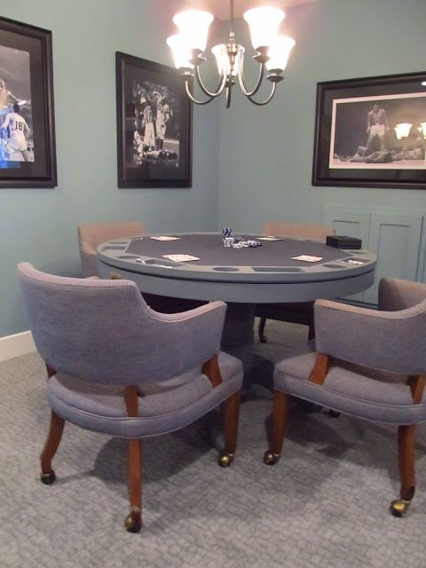 Basement Family Room / Poker Table / Game Table With Sports Photographs