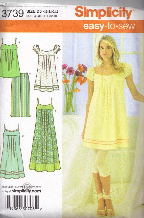 Tunic Top, Boho Peasant Sundress Simplicity 3739 Dress Sewing Pattern Size 4, 6, 8, 10, 12 Bust 29 1/2 - 34