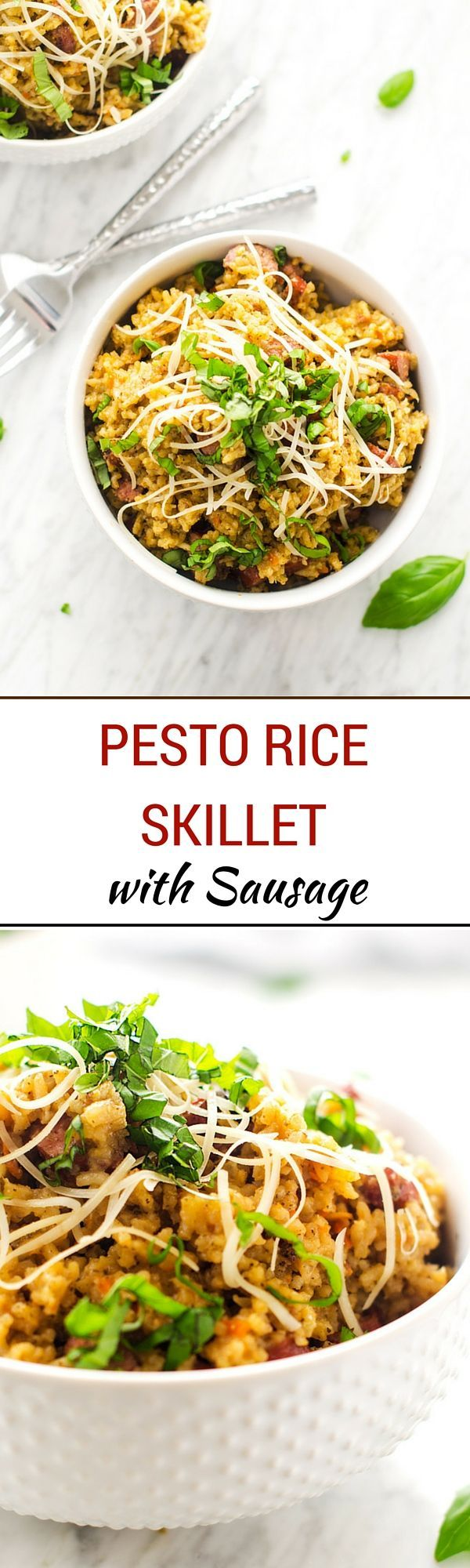 Pesto Rice Skillet with Sausage - This easy to make family dinner is ...