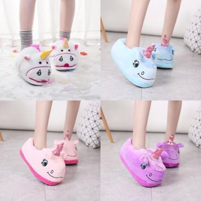 Men Women Adult Plush Cute Unicorn Slippers Winter Warm Soft Home Indoor Shoes S