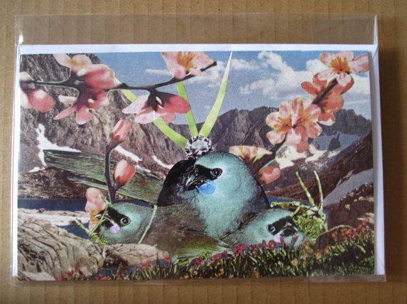 Collage Print Greeting Card Bluebird Bay by Amanda by ArtFarmEtsy